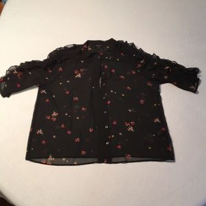 Who What Wear Black 3/4 sheer blouse